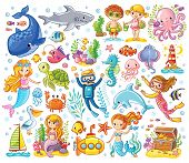 Vector Set On A Sea Theme In A Childrens Style. poster