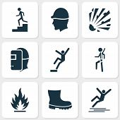 Safety Icons Set With Boot, Risk, Flammable And Other Headwear Elements. Isolated Vector Illustratio poster