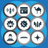 Religion Icons Set With Scripture, Adhaan, Qiblah And Other Mecca Elements. Isolated Vector Illustra poster
