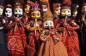 pic of rajasthani  - Group of colouful puppets for sale in Jaipur Rajasthan India - JPG