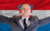 Happy Businessman Because Of Profitable Investment In Croatia Standing Near Flag