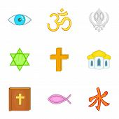 Spirituality Icons Set. Cartoon Illustration Of 9 Spirituality Icons For Web poster
