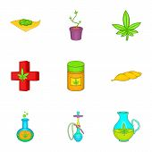 Weed Icons Set. Cartoon Illustration Of 9 Weed Icons For Web poster