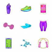 Slimming Icons Set. Cartoon Illustration Of 9 Slimming Icons For Web poster