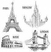 European cities symbols sketch: Paris (Eiffel Tower), London (London Bridge), Rome (Colosseum), Mosc
