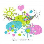Постер, плакат: Любовь птицы Иллюстрация