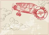 image of propeller plane  - Vintage paper background with plane and clouds - JPG