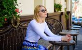 Still Waiting Him. How Enjoy Being Single Tips. Woman Sits Alone Cafe Terrace Urban Background Defoc poster