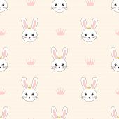 Seamless Little Princess Bunny Pattern, Wallpaper With Cute Rabbits For Girls Design, Cute Bunnies O poster