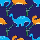 Cute Dinosaurs Seamless Pattern. Vector Background With Cartoon Dinosaurs. poster