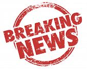 Breaking News Latest Updates Announcements Stamp Illustration poster