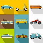Transport For Movement Icons Set. Flat Illustration Of 9 Transport For Movement Icons For Web poster