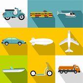 Movement On Machine Icons Set. Flat Illustration Of 9 Movement On Machine Icons For Web poster