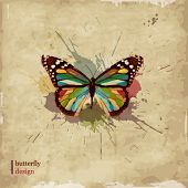 stock photo of butterfly  - Retro butterfly design on old paper - JPG