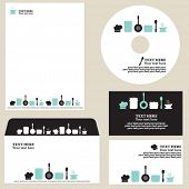 Business template, blue kitchen/restaurant/cafe set