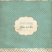 stock photo of lace  - Vintage polka dot card with lace - JPG