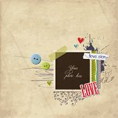 Romantic scrap template, love card