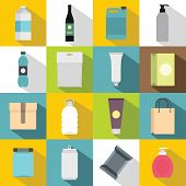 Packaging Items Icons Set. Flat Illustration Of 16 Packaging Items Icons For Web poster