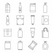 Packaging Items Icons Set. Outline Illustration Of 16 Packaging Items Icons For Web poster