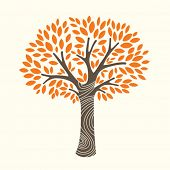 stock photo of orange-tree  - vector illustration of an autumn tree - JPG