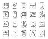 Hvac Thin Line Icons Set. Outline Sign Kit Of Climatic Equipment. Fan Linear Icon Collection Include poster