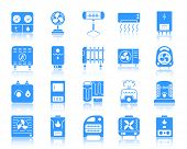 Hvac Silhouette Icons Set. Sign Kit Of Climatic Equipment. Fan Pictogram Collection Includes Convect poster