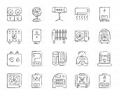 Hvac Charcoal Icons Set. Grunge Outline Sign Kit Of Climatic Equipment. Fan Linear Icon Pack Include poster