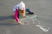 Drawings On The Sidewalk, Girl Child Draws A Unicorn. poster