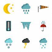 Weather Outside Icons Set. Flat Illustration Of 9 Weather Outside Icons For Web poster