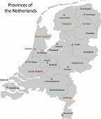 Gray Netherlands map with regions and main cities