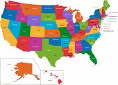stock photo of nebraska  - Colorful USA map with states and capital cities - JPG