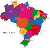pic of brasilia  - Colorful Brazil map with states and capital cities - JPG