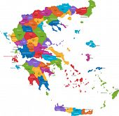 picture of sparta  - Map of administrative divisions of Greece with the capital cities - JPG