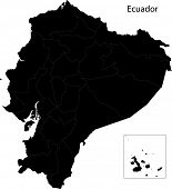 picture of guayaquil  - Black Ecuador map with province borders - JPG