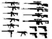 picture of handgun  - modern weapon collection vector - JPG