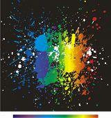 Постер, плакат: Иллюстрация цвета краски брызгает на черном фоне