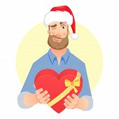 Businessman In Santa Claus Hat. Man Gives Heart. Gift Giving Vector Illustration poster