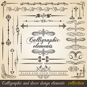 Calligraphic and decor design elements. Vector design corners, bars, swirls, frames and borders. Han