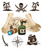 stock photo of skull crossbones flag  - Treasure map - JPG