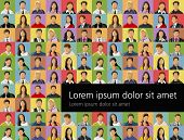 Background with a group of business and office people photos. Vector Icons.