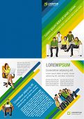 Yellow, green and blue template for advertising brochure with students