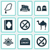 Religion Icons Set With People, Maghrib, Zakat And Other No Alcohol  Elements. Isolated  Illustratio poster