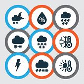 Weather Icons Set With Winter, Thunderstorm, Cold And Other Voltage Elements. Isolated  Illustration poster