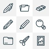 Instrument Icons Line Style Set With Folder, Open Folder, Scissors And Other Postmark Elements. Isol poster