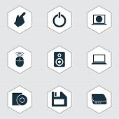 Device Icons Set With Floppy Disk, Control Device, Disc And Other Amplifier Elements. Isolated  Illu poster
