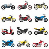 Motorcycle Vector Motorbike And Motoring Cycle Ride Transport Chopper Illustration Motorcycling Set  poster