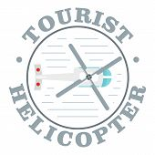 Tourist Helicopter Icon. Flat Illustration Of Tourist Helicopter Icon For Web Design poster