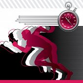 Background with runners and stop watch. Vector illustration.