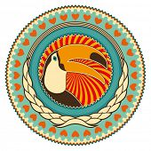 stock photo of polly  - Illustrated colorful emblem with toucan - JPG