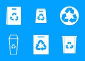 Recycle Material Icon Set. Simple Set Of Recycle Material Icons For Web Design Isolated On Blue Back poster